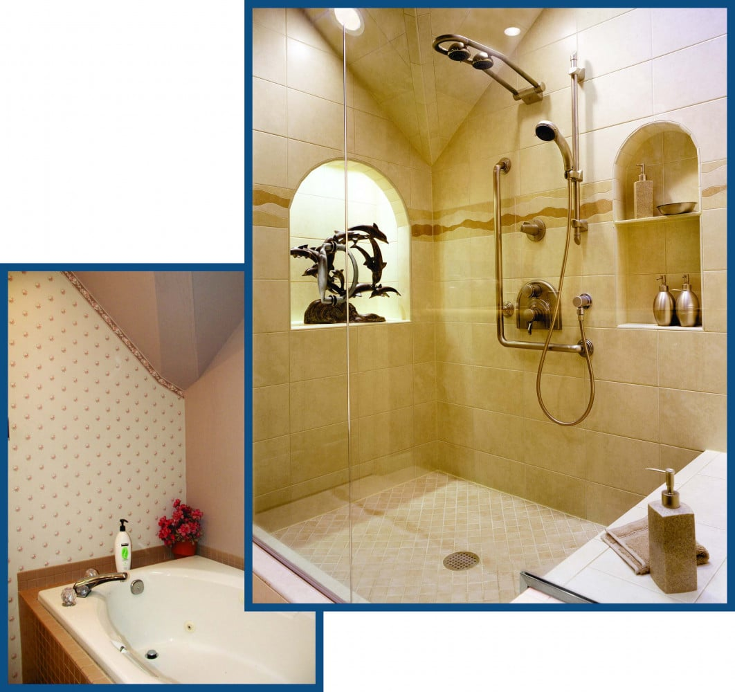 Tigard Master Bathroom Tub Before and Shower After