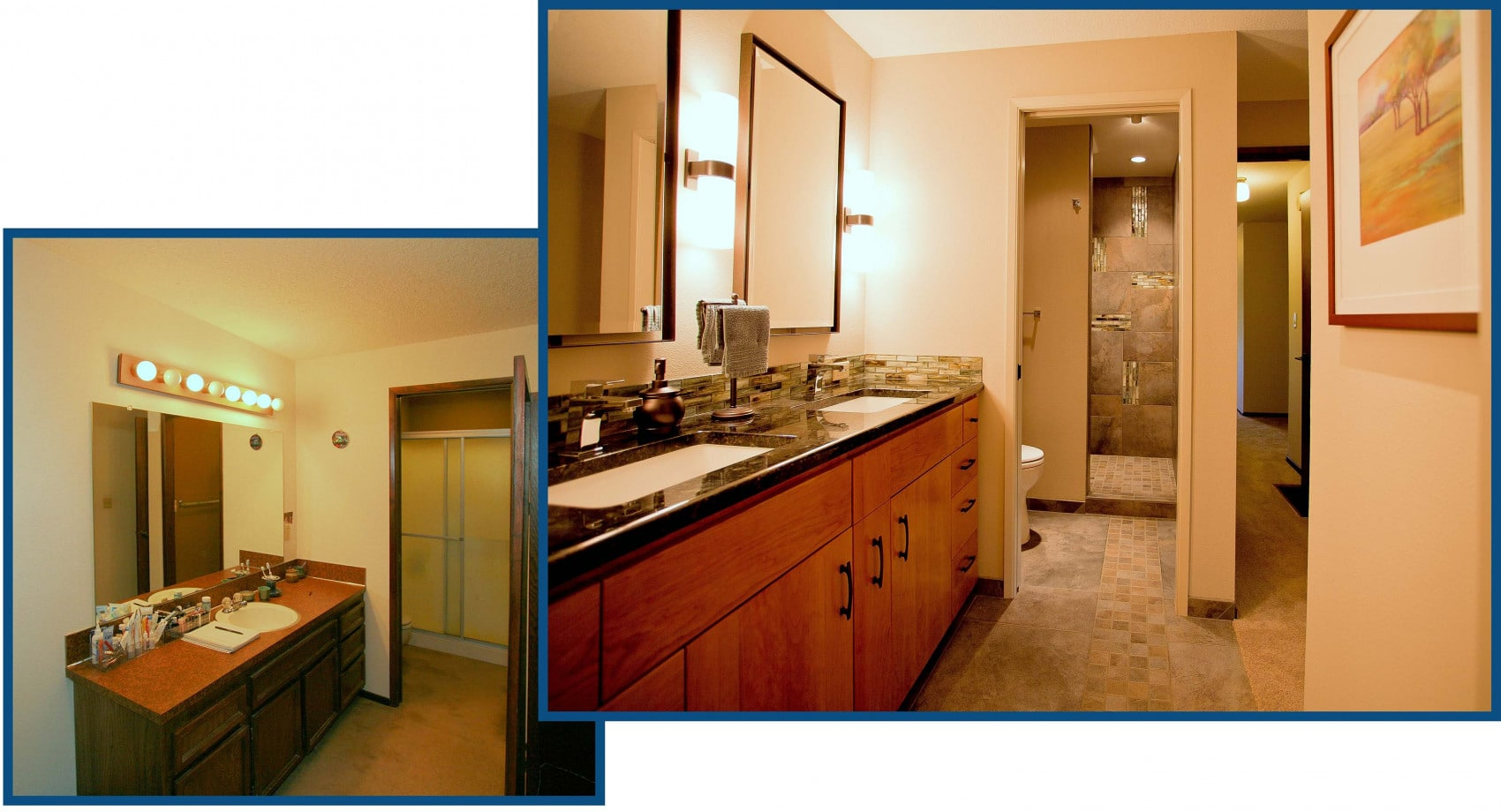 West Linn Master Lavatory Shower Before and After