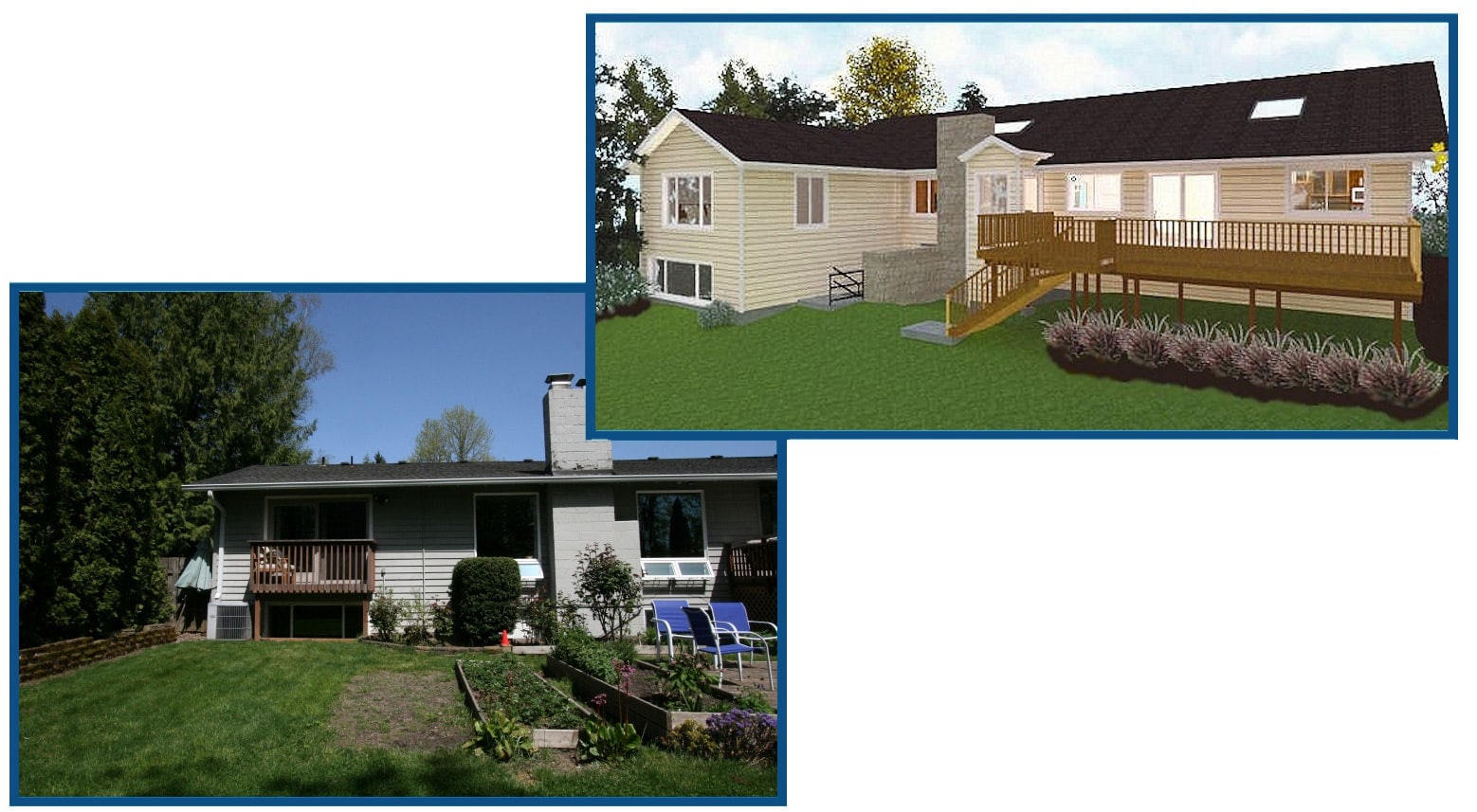 Rear Exterior of Home and Virtual-Reality Rendering with Master Suite and New Bedroom Addition