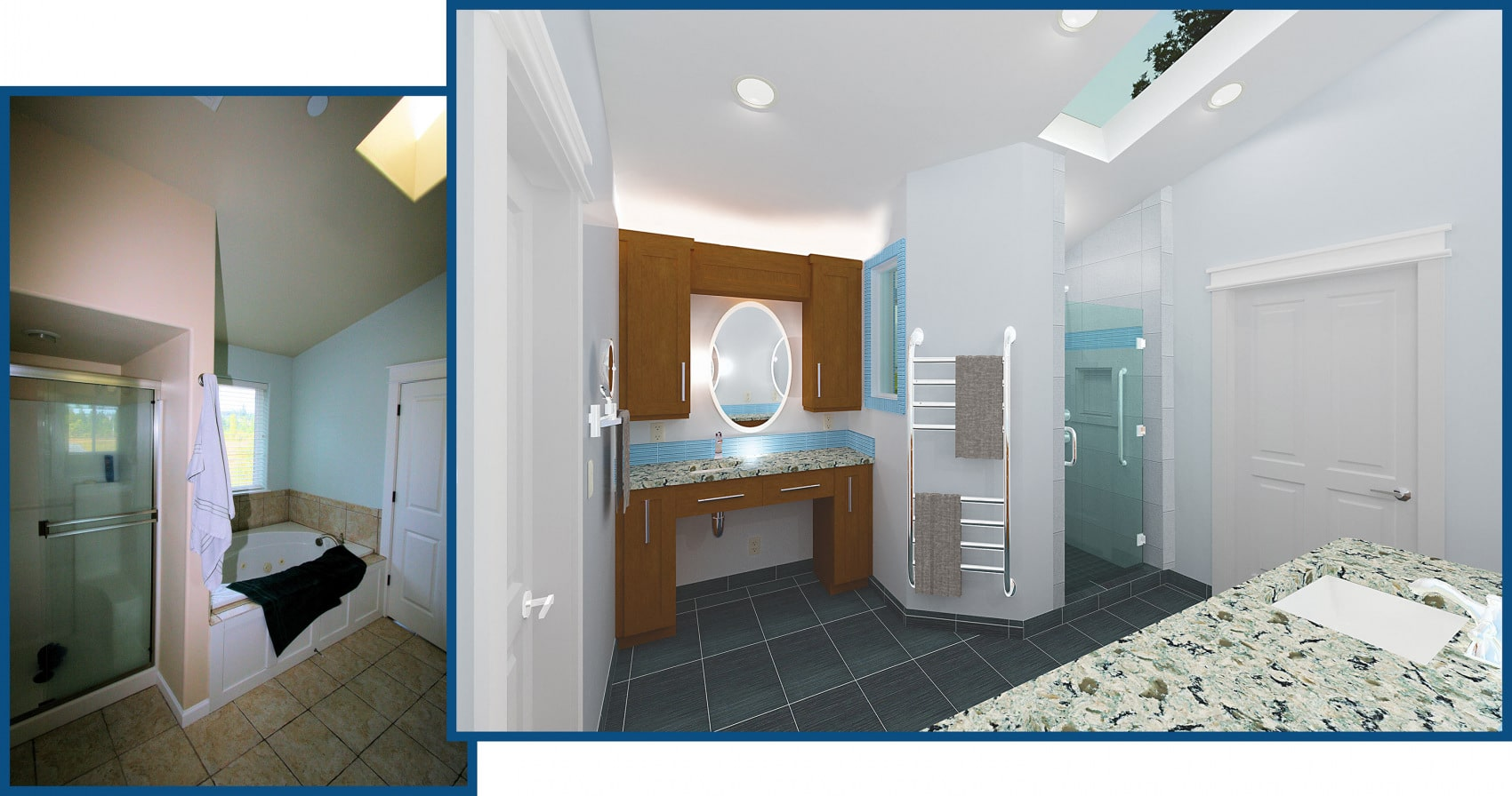 Master Bathroom (View 2):  Custom Grooming Area and Shower