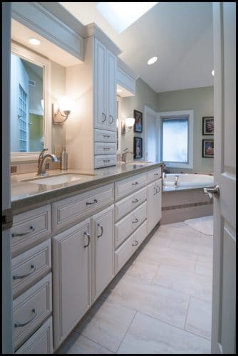 Luxurious master bathroom seen from entry