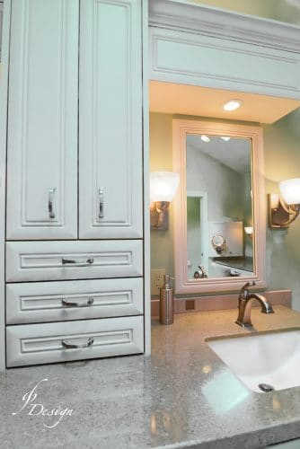 Luxurious master bathroom wall cabinet and lavatory sink + mirror and sidelights
