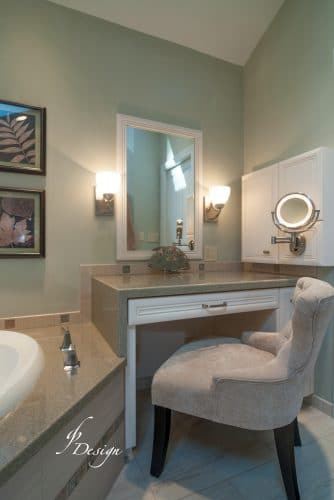 Luxurious master bathroom makeup area