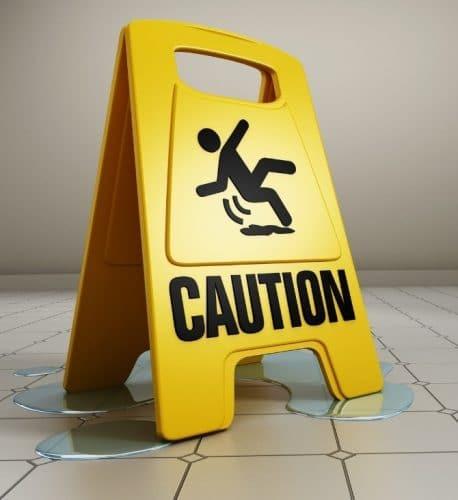Wet bathroom floor sign