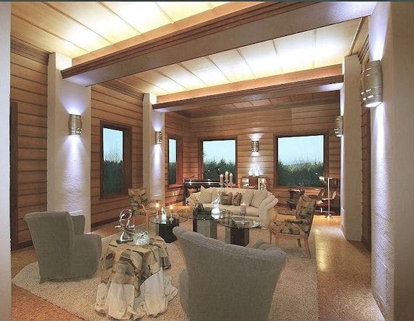 Frank Lloyd Wright-Inspired Living Room with dimmable indirect lighting that fills the room after sunset.