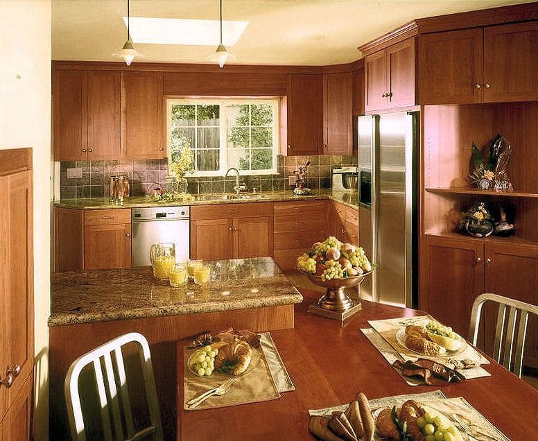 Remodeled Kitchen 4 Growing Family: Dramatic transformation with custom cherry cabinets, Juparana countertops, laminate flooring.