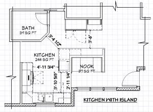 A kitchen island has specific space requirements.