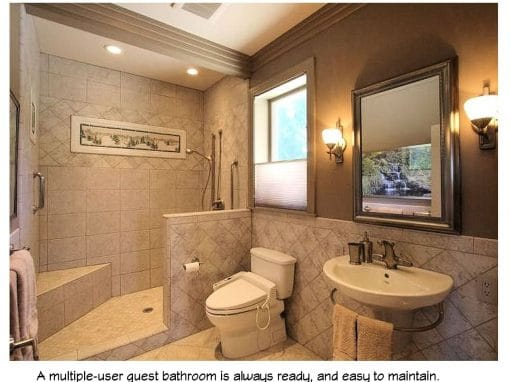 A multiple use bathroom, always ready and easy to clean