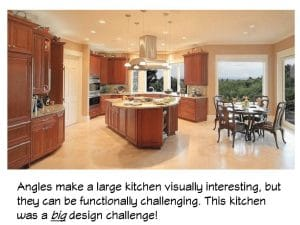 A remodeled angular kitchen can cause functional and design challenges.