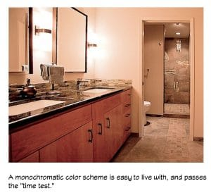 a monochromatic color scheme is livable, stands the test of time