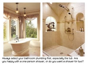 Bathroom remodeling requires you to choose plumbing first.