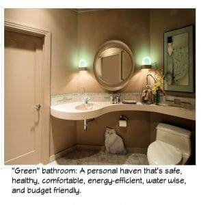 Sustainable bathroom is safe, healthy, comfortable, energy-efficient, water wise and budget friendly.