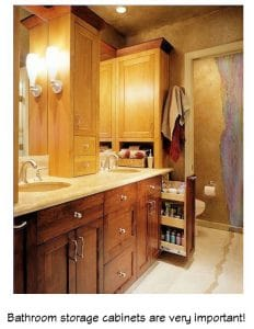 Bathroom cabinets provide storage and appearance
