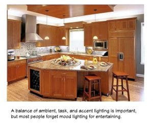 Kitchen lighting achieves balance, flexibility, safety, and drama to the most important room in your home.