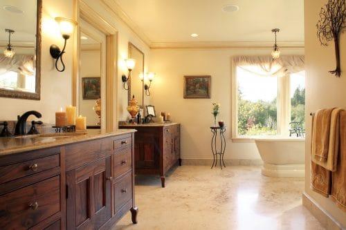 Tualatin remodeled master bathroom monochromatic color scheme