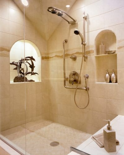 Remodeled Tigard Master Bathroom Shower with Lit Display Niche