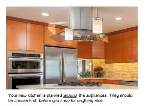 kitchen appliances must be chosen first, because your kitchen is planned around them