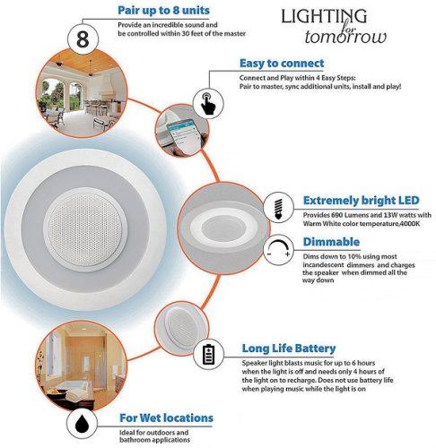 LED Light fixture plus speaker