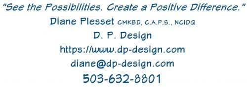 D. P. Design Logo and Contact Information