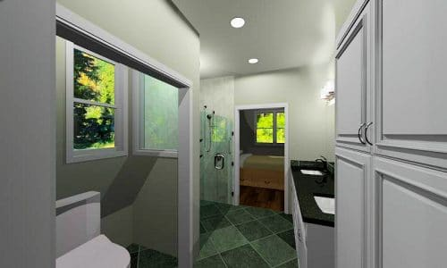 Virtual-reality perspective of new accessible bathroom