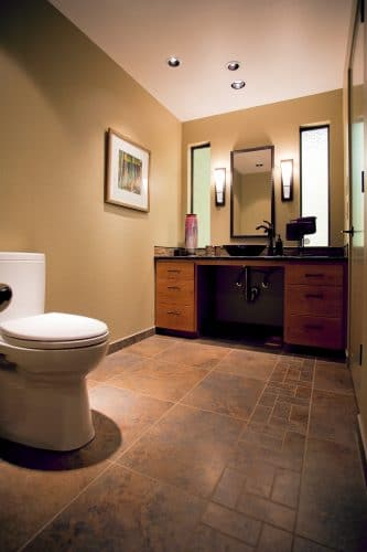 Accessible bathroom with wheelchair turn-around